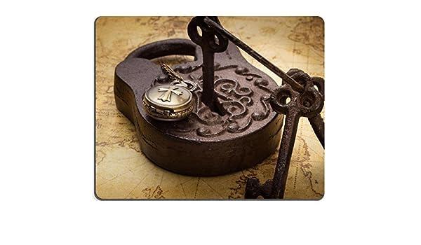 Mousepad Vintage Old Rusty Lucchetto con chiavi e pocketwatch sulla mappa antica ancora vita immagine 36850294/by MSD Tappetino personalizzato mouse pad da gioco computer portatile