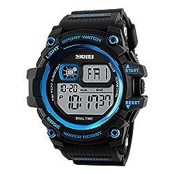 Skmei Digital Display Sports watch 3ATM waterproof Stainless Steel Back -1229 Blue