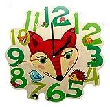 Hess Holzspielzeug 30004 - Kinderwanduhr Fuchs aus Holz, Durchmesser 21 cm
