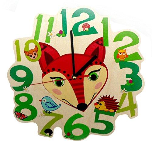 Hess Holzspielzeug 30004 Kinderwanduhr Fuchs aus Holz, Durchmesser 21 cm