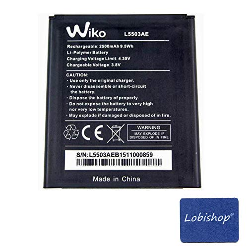 Lobishop Original Batterie Wiko L5503AE - 2500 mAh 9,5Wh Li-Polymer pour Wiko Rainbow 4G + Screen Cleaner