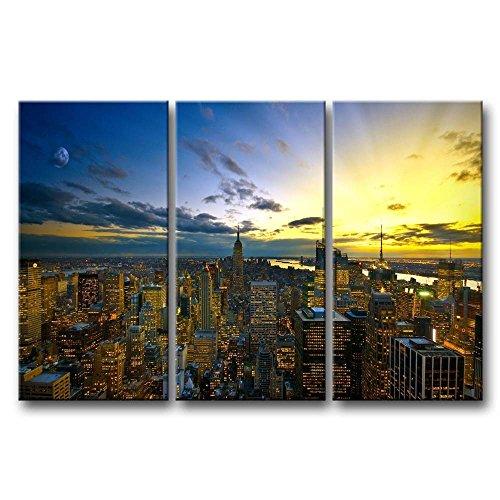 ür Home Decor NEW YORK in Sunup 3Stück Gemälde Moderne Giclée-gespannt und gerahmt Artwork Öl der City Bilder Foto Prints auf Leinwand (Das Empire Hotel New York Halloween)