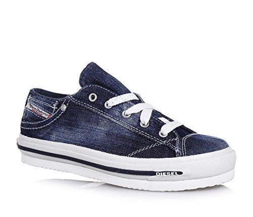 DIESEL - Chaussure à lacets bleue, en jean, logo latéral, lacets blancs, coutures visibles et semelle, garçon, garçons