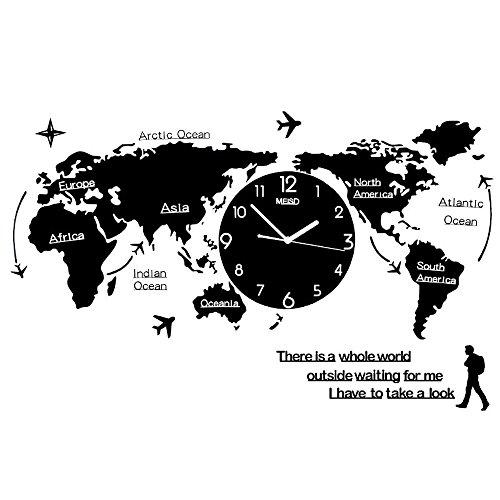 05a8977e9a0 OOFYHOME LUOER Wall Clock Wall Sticker Creative World Map Wall Clock 3D  Digital Clock Silent Non-ticking Clock for Living Room Bedroom Office