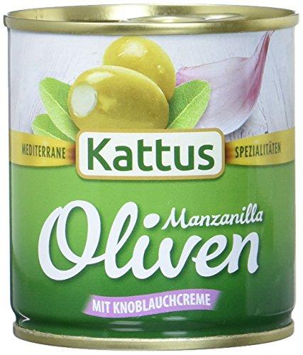 Kattus grüne Manzanilla Oliven mit Knoblauchcreme gefüllt, 85 g