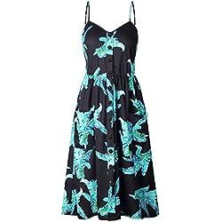 Providethebest Vestido de Las Mujeres del botón de Girasol piña impresión de la Hoja del Vestido Ocasional del Verano de la correanegro 2XL poliéster