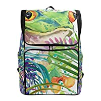 Tropical Forest Jungle Green Leave Frog Backpack Hiking Bags Rucksack for Girls Boys