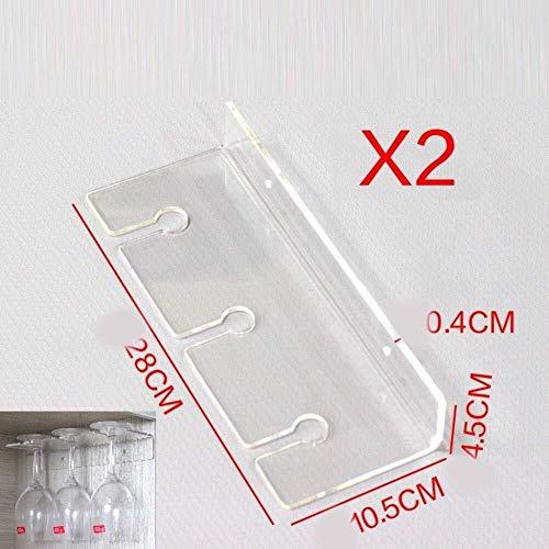 Flaschenregal - GMING Haushalt Weinregal, Acryl-Kristall-Material, Rostfreie Wandbehang Becher Rack, Rotwein Hängen Weingläser (Color : B)