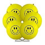Große Gelb Durchtreiber Luftballons w/Lächelnde Design (x20)