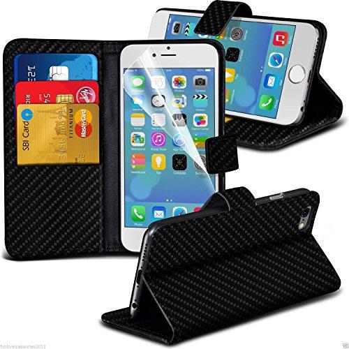 Apple iPhone 5/5S/SE Effet fibre de carbone Folio fente pour carte étui portefeuille avec support pour Apple iPhone 5/5S/SE