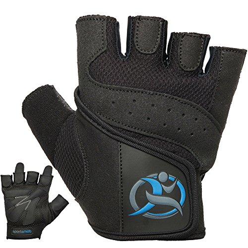 Amara cuero levantamiento de pesas guantes de Gel sportsmob - palmas acolchadas para agarre y amortiguación - malla transpirable para enfriar las manos Negro negro Talla:mediano
