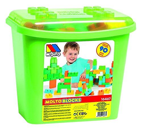 MOLTO - Contenedor bloques grande, 90 piezas, color verde (16467)