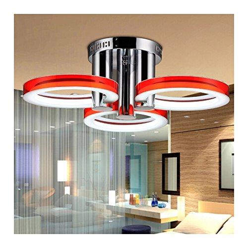 Lámpara de Techo LED - HomeLava Lámpara de Techo con 3 Luces Lámpara LED 18W Iluminación interior para Salón / Dormitorio / Hotel , Rojo