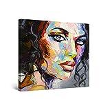 Startonight Cuadro Moderno en Lienzo - Eva Mujer Cara Pintada, Pelo Rizado Elegante - Pintura Abstracta para Salon Decoración 80 x 80 cm