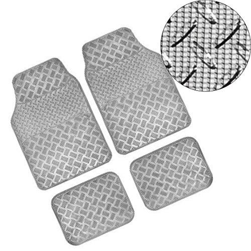 Preisvergleich Produktbild Akhan FUM06CC Fußmatten Set Carbon Chrom 4-Teilig Fussmatte