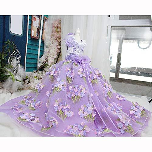 WHZWH Puppy Dog Princess Dresses, Hundebraut-Kostüm Dreidimensionaler Druckentwurf Mehrschichtiger Netzrock Geeignet für Hochzeitsfoto-Festival-Party,L (Hunde Halloween-kostüme Für Princess)