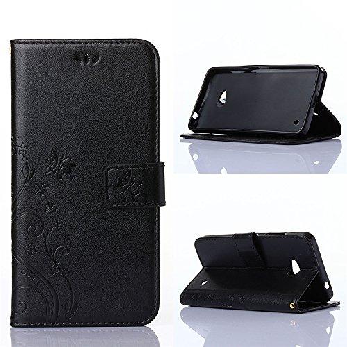COOLKE Retro Butterflies Pattern Design PU Leather Wallet With Card Pouch Stand Lederhülle Leder Tasche Case Cover für Microsoft Lumia 640 LTE Schutzhülle Hülle - Schwarz