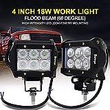 Safego 2x Arbeitslicht 18W LED Scheinwerfer Flutlicht Auto Arbeitsscheinwerfer bar Offroad Zusatzscheinwerfer Auto 12V 24V Schwarz Aluminium Druckguss