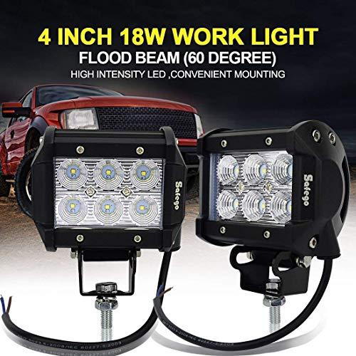 Safego C18W-BH-FL-2 Faro da Lavoro Luce Barra Luminosa LED Fendinebbia Fanalino Luce Anteriore e Posterio