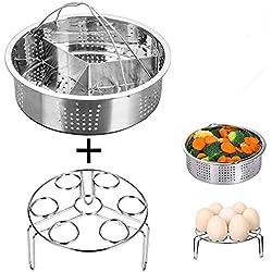 3Pcs/Lot cuiseur vapeur en acier inoxydable Panier Ensemble Instant Pot Œuf cuiseur vapeur Rack Lot de pince de cuisine et salle à manger Instant Pot Accessoires
