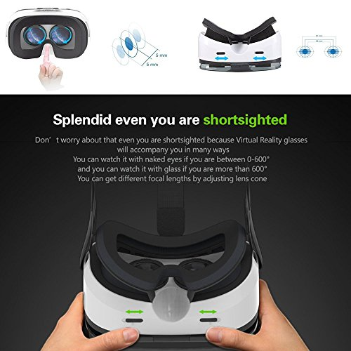 Pasonomi 3D VR Brille, Virtual Reality Headset VR Brille für iPhone 6 6S Plus, iPhone 7 7 Plus, Samsung S7 edge S8 S6 edge, Huawei, LG, HTC, Google und 4-6 Zoll Smartphones