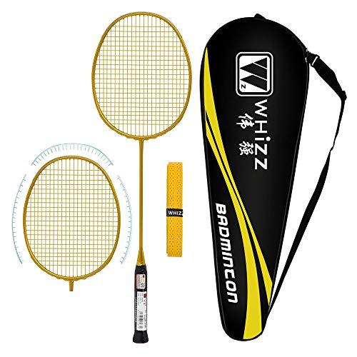 Whizz Badminton Schläger mit Tasche Griffband, Verbesserte Version mit Grommet-Streifen, One Piece 100% Graphit (Golden)