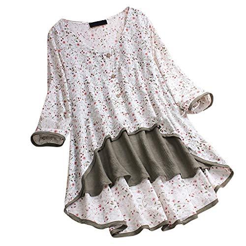 Damen Oberteile Sommer Casual Leinen Irregulär Patchwork Bluse Blumen Drucken Tops Sexy Lange Ärmel T-Shirt Mädchen (L, Weiß) - Union Lange Unterwäsche