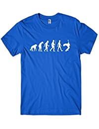 Evolution of a Guitarist Mens Guitar Player T-Shirt Gift (Large, Royal Blue)