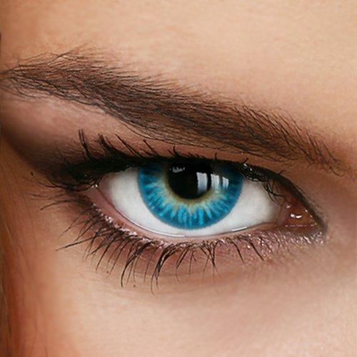 Farbige Jahres-Kontaktlinsen Rainbow AQUA Blau/Türkis - MIT und OHNE Stärke in BLAU - von LUXDELUX - ohne Stärke (+/- 0.00 DPT)