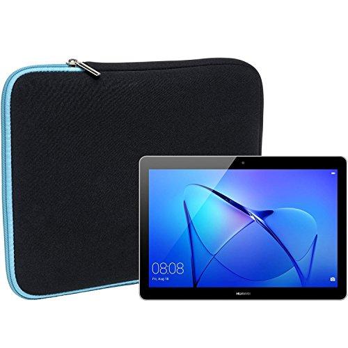 Slabo Tablet Tasche Schutzhülle für Huawei MediaPad T3 10 9.6 (AGS-L09) Hülle Etui Case Phablet aus Neopren – TÜRKIS/SCHWARZ