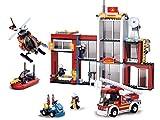 Funstones - 607 Teile Bausteine Feuerwehr Station Figuren Auto Feuerwehrauto Boot Helikopter Baustein Bausatz Set Bau Steine