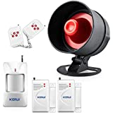 KERUI Standalone Home Office & Shop Security Alarm System Kit, Wireless Loud Indoor / Outdoor Weatherproof Strobe Siren Horn with Remote Control and