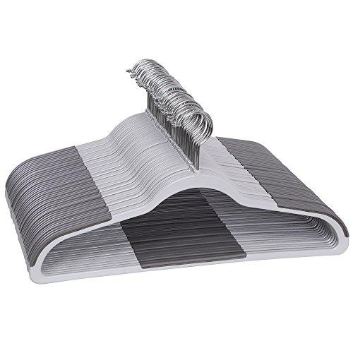 SONGMICS Perchas Plásticas, 50 Unidades, Perchas para Ropa Pesada con Pieza Antideslizante, Fina, Ahorro de Espacio, Gris CRP50G