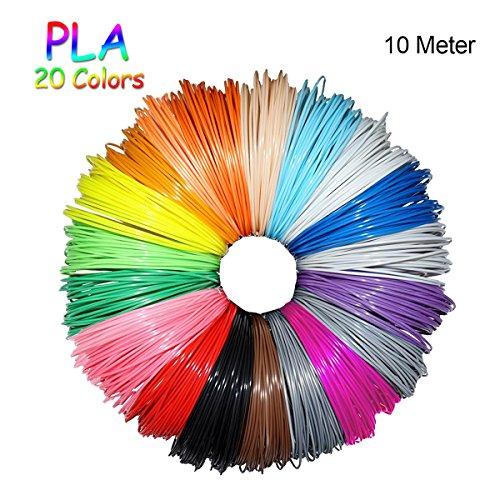 Pluma 3D Filamento PLA FOCHEA Materiales de Impresión 3D de Filamento PLA 20 Colores 1.75 mm, 10M Cada Color para Lápiz 3D
