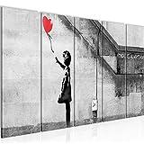 Bilder Banksy - Ballon Girl Wandbild 150 x 60 cm Vlies - Leinwand Bild XXL Format Wandbilder Wohnzimmer Wohnung Deko Kunstdrucke Rot 5 Teilig - MADE IN GERMANY - Fertig zum Aufhängen 301656a
