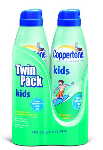 Coppertone Kids Continuous Spray, SPF 50, Twin Pack, 6-Unzen-Flaschen -