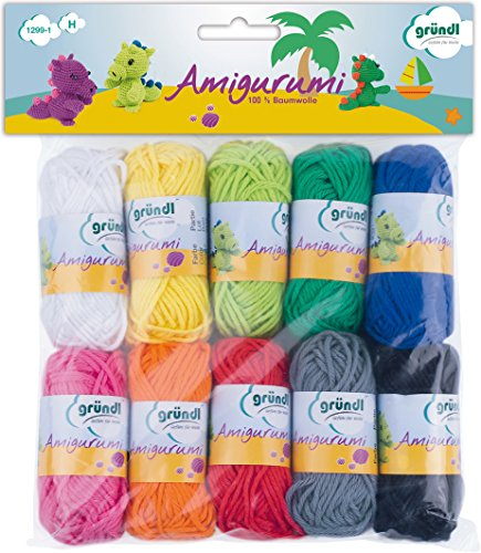 Gründl Amigurumi - Set I Wolle, Baumwolle, bunt, 19.5 x 18 x 2.6 cm -