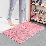LiGG Tapis de bain antidérapant absorbant doux en microfibre chenille pour salon, salle de bain, cuisine, chambre, Chenille, rose, 40*60cm