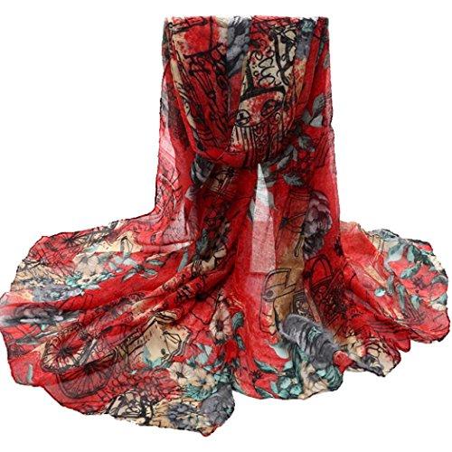 Crinkle-voile (OverDose Damen Blume Voile Stola Schals langen Hals Wraps Schal Schal Winter Halstuch winterschal Schlauchschal,A-Red)