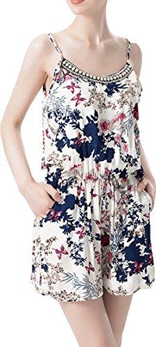 YAN Damen Jumpsuit Gr. Medium, Blau/Weiß (Plus Size Floral Romper)