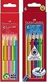 Faber-Castell 110994 und 110906 Bundle - Buntstifte Jumbo Grip Neon, 5-er Etui und Buntstift Jumbo GRIP 6er Kartonetui (Bundle neon + bunt, 1)