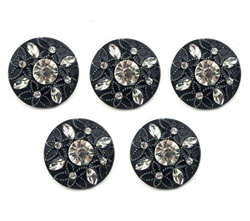 HAND No.124-1 en Relief Motif de Fleurs et de Crystal Noir Boutons de Diamètre 22 mm - Pack DE 5