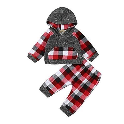 2pcs Kleinkind Baby Junge Mädchen Kleider Set Plaid Kapuzenpullover Tops + Hosen Outfits zum beiläufig, Täglich, Party oder Fotoshooting_Hirolan (Grau,