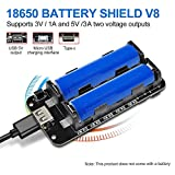 diymore 18650 Battery Shield V8 3V 5V Puerto USB Micro Tipo A USB con Cable para Raspberry Pi...