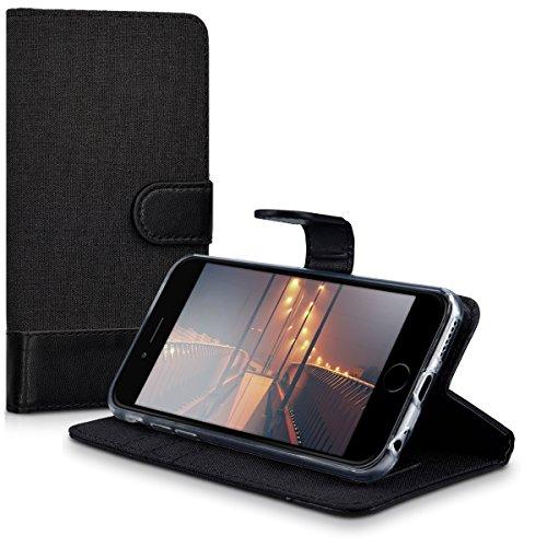 kwmobile Hülle für Apple iPhone 6 / 6S - Wallet Case Handy Schutzhülle Kunstleder - Handycover Klapphülle mit Kartenfach und Ständer Anthrazit Schwarz .Anthrazit Schwarz
