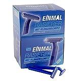 Teqler Einmalrasierer T-370650, rasiert jede Haarlänge sanft, sicher und hautschonend, blau (100-er Pack)