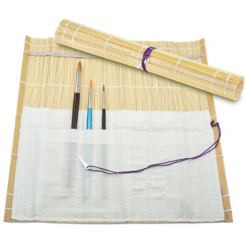 Bambus-Pinseltasche Rolltasche Maltasche | mit 10 Fächern | 33 x 36 cm ?