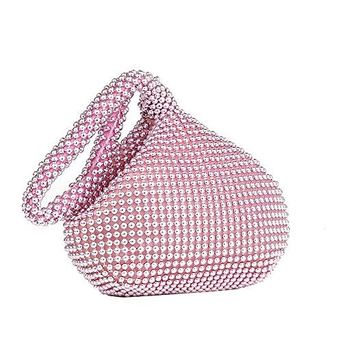 Abendtaschen Frauen Mini glänzend weichen Körper Perlen Abend Party Prom Braut Hochzeit Designer Clutch Bag Handtasche Tasche Geldbörse mit Reißverschluss (Heißes Rosa) (Rosa Abend-handtasche)