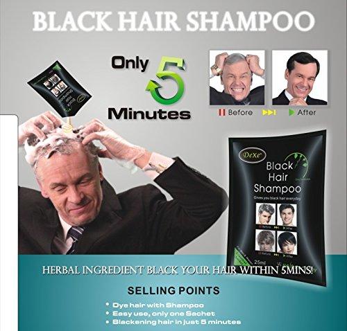 10x25ml Unisex Dexe Black Hair Shampoo Schwarze Haare In 5 Minuten Färben Tönen (Schwarze Haare, Shampoo)