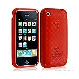 Seluxion - Housse étui coque en gel transparent pour Apple Iphone 3G/3Gs motif damier couleur rouge